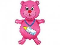 №10646 fed_ Мишка с пустышкой из фольги(розовый)