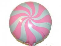 №11345 fed_ Фольга круг спираль розовая 45х45см
