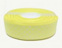 №1405 Лента репсовая 2,5смх22м св.желтая бел.горох