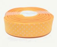№1424 Лента репсовая 2,5смх22м апельсин бел.горох