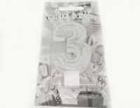 №504 Свечка в торт серебро 3-ка