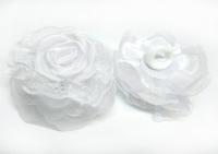№5064 Резиночка цветок белая 9см