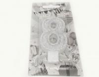 №510 Свечка в торт серебро 8-ка