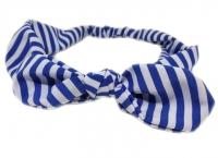 №6124 Повязка полоска VL Солоха бело-светл.синяя 4.5см