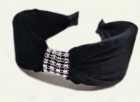 №6158 Обруч велюр камни черный