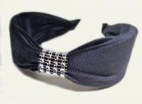 №6159 Обруч велюр камни темн.серый