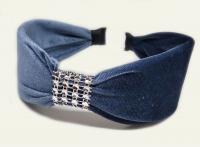 №6160 Обруч велюр камни серо-синий