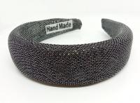№8100 Обруч блестящий черный-серебро шир.3.7см